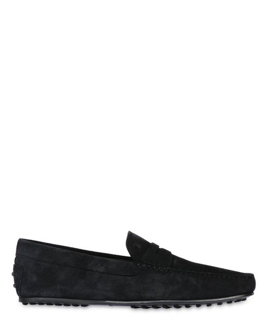 Tod's | Blue City Gommino Suede Driving Shoes for Men | Lyst