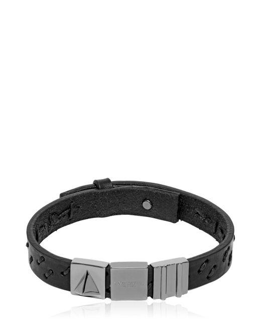 Northskull - Black Oka Laser-cut Leather Bracelet for Men - Lyst