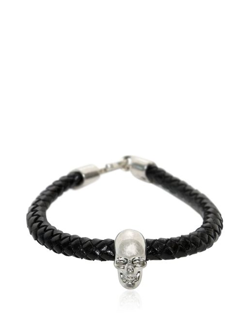Alexander McQueen | Black Skull Woven Leather Bracelet for Men | Lyst