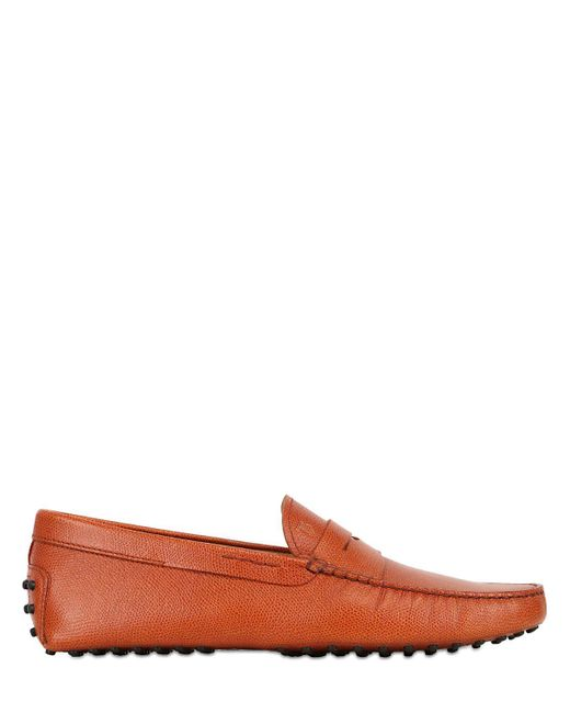 Tod's | Orange Gommino Embossed Leather Driving Shoes for Men | Lyst