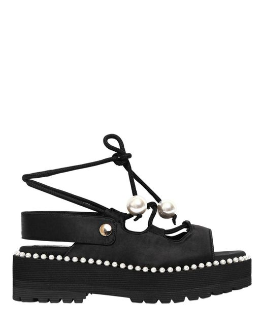Suecomma Bonnie - Black 60mm Satin Lace-up Platform Sandals - Lyst