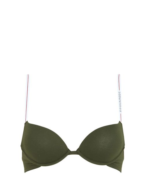 DSquared² | Green Stretch Cotton Jersey Padded Bra | Lyst