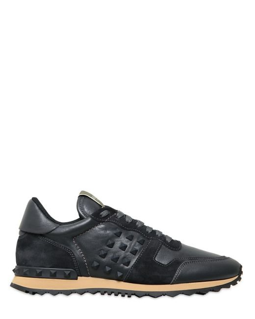 Valentino | Gray Rockstud Leather & Suede Sneakers | Lyst