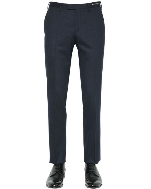 PT01 | Black 18cm Zerouno Stretch Wool Flannel Pants for Men | Lyst