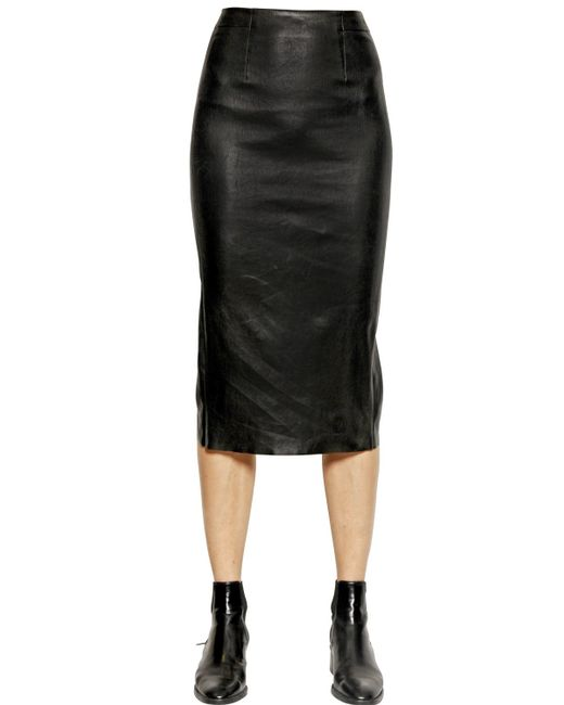 each x other stretch nappa leather pencil skirt in black