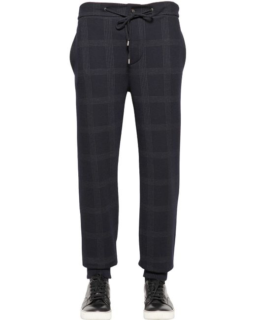 Etro | Blue Checked Wool & Cotton Jersey Pants for Men | Lyst