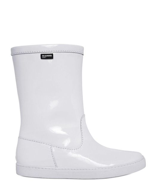 Jil Sander Navy | White 10mm Patent Leather Sneaker Boots | Lyst