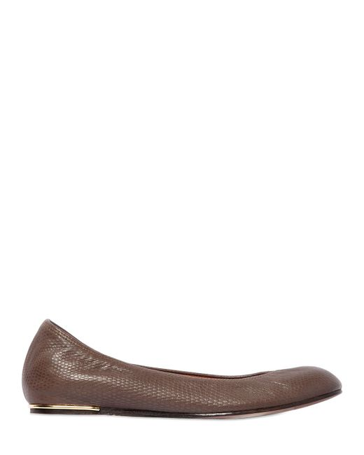 Lanvin | Brown 10mm Lizard Embossed Leather Ballerinas | Lyst