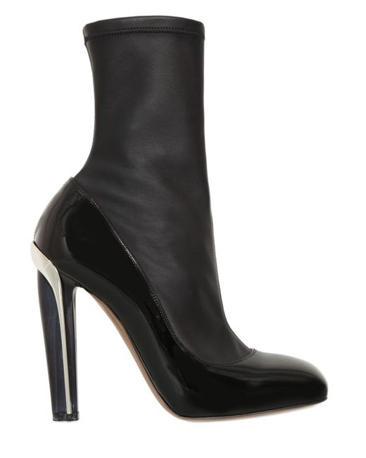 Alexander McQueen | Black 130mm Stretch Leather Boots | Lyst