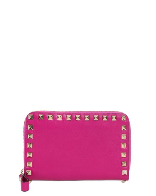 Valentino | Pink Rockstud Leather Zip Around Wallet | Lyst