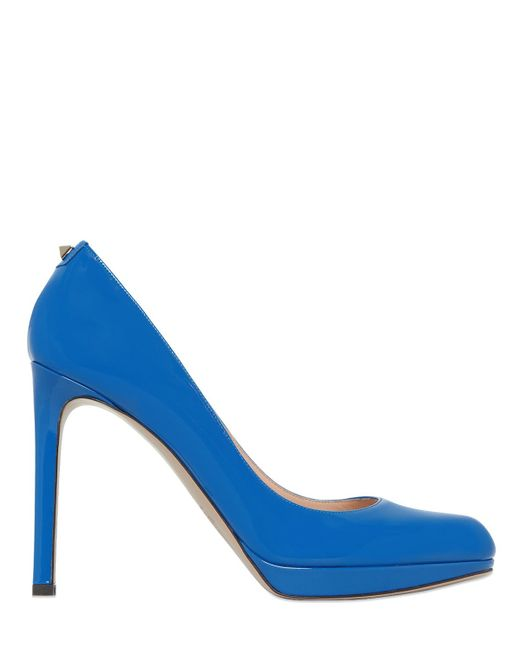 Valentino | Blue 120mm Plain Patent Leather Pumps | Lyst