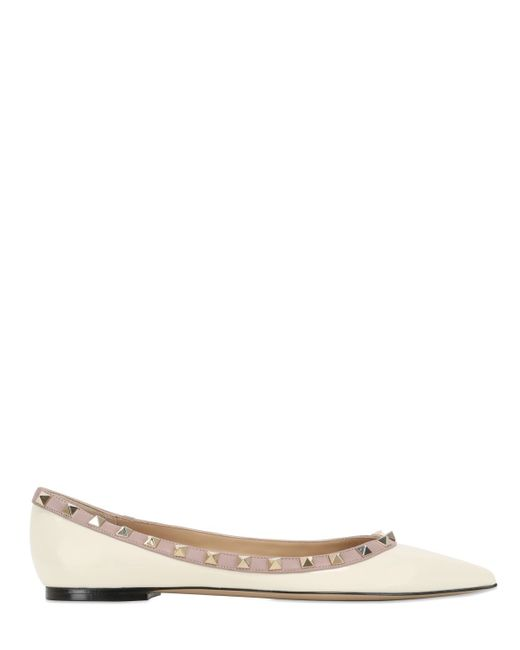 Valentino | White Rockstud Patent Leather Ballerina Flats | Lyst