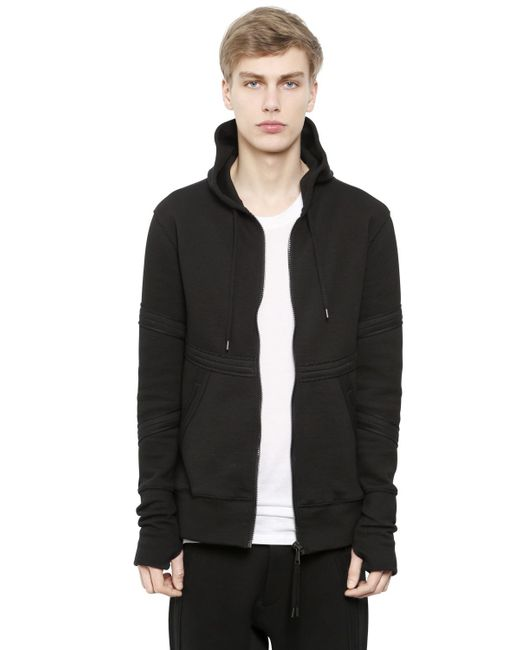 Alexandre Plokhov | Black Hooded Zip-up Bonded Jersey Sweatshirt for Men | Lyst