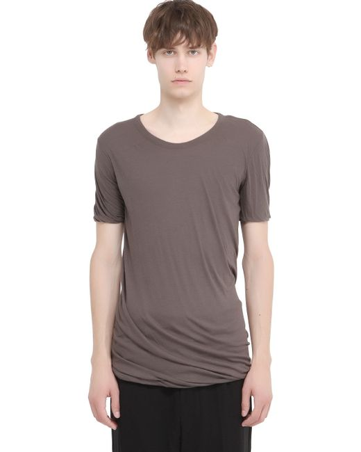 Rick Owens | Gray Double Cotton Jersey T-shirt for Men | Lyst