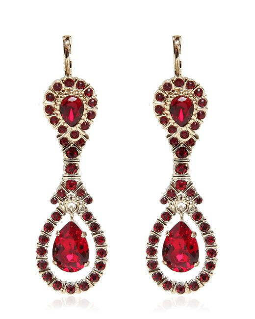 Givenchy   Red Crystal Pendant Earrings   Lyst
