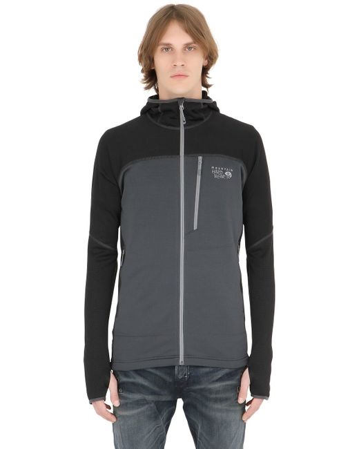 Mountain Hardwear | Gray Desna Grid Hooded Fleece Jacket for Men | Lyst