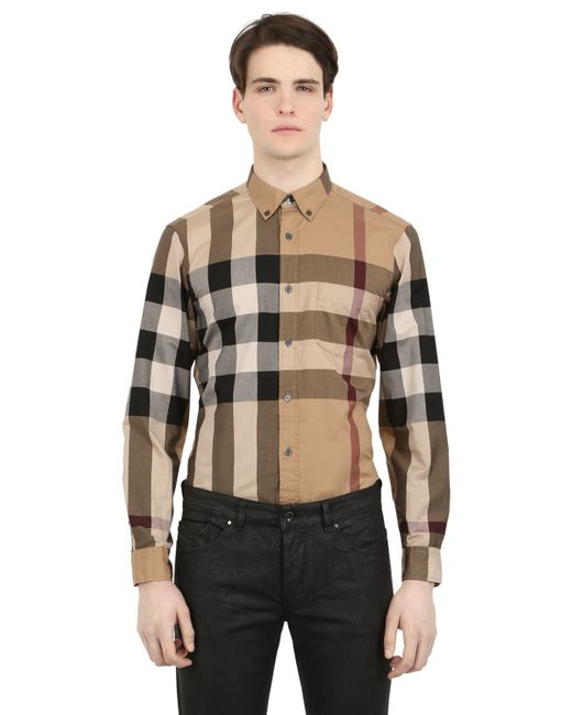 Burberry Brit | Natural Macro Check Shirting Cotton Shirt for Men | Lyst