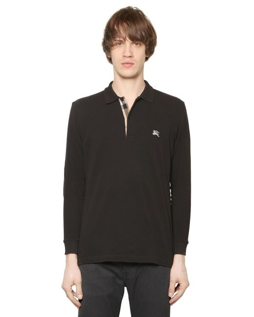 Burberry Brit | Black Logo Embroidered Cotton Piqué Polo for Men | Lyst