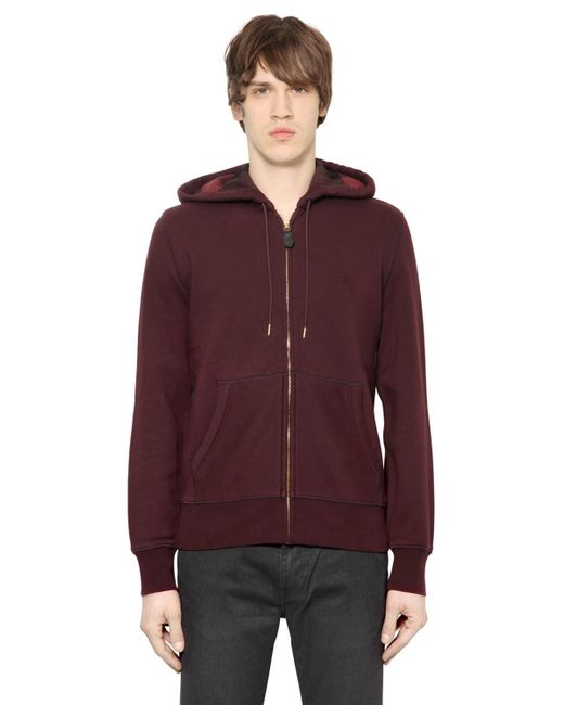Burberry Brit | Purple Zip-Up Cotton-Blend Hoodie for Men | Lyst