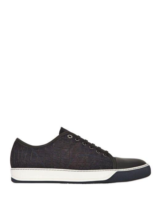 Lanvin | Gray Crocodile Embossed Nubuck Sneakers for Men | Lyst