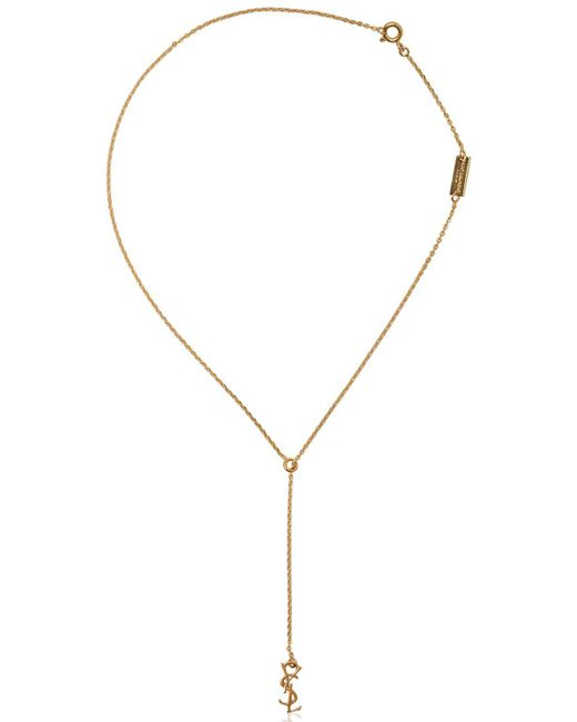 Saint Laurent | Metallic Monogram Gold Plated Necklace | Lyst