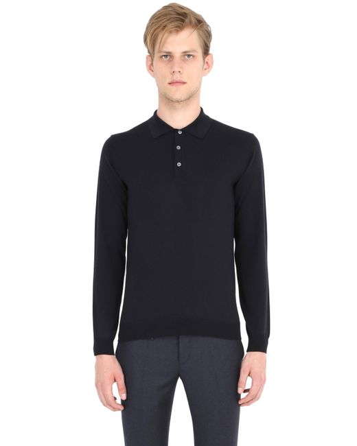 Incotex | Blue Flexwool Long Sleeve Polo Sweater for Men | Lyst