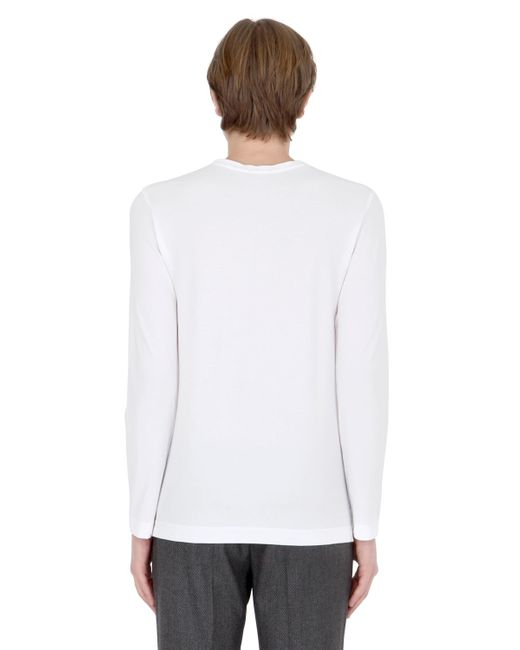 Drumohr Cotton Crepe Jersey Long Sleeve T-shirt in White for Men ...