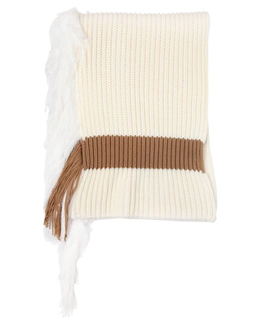 J.W. Anderson | White Ribbed Wool Blend Scarf With Fringe | Lyst