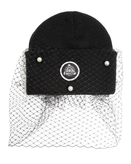 Silver Spoon Attire | Black Beanie Hat With Veil & Bow | Lyst