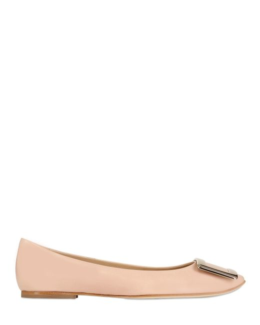 Roger Vivier | Natural 10mm Belle Vivier Brushed Leather Flats | Lyst