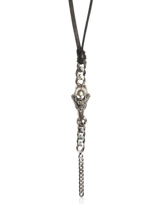 Emanuele Bicocchi | Metallic Silver Skull & Chain On Leather Necklace for Men | Lyst