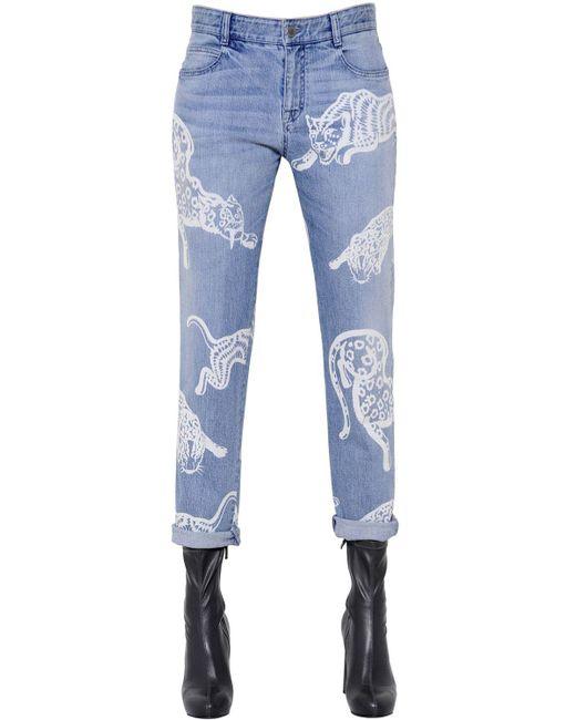 Stella McCartney | Blue Printed Organic Denim Jeans | Lyst
