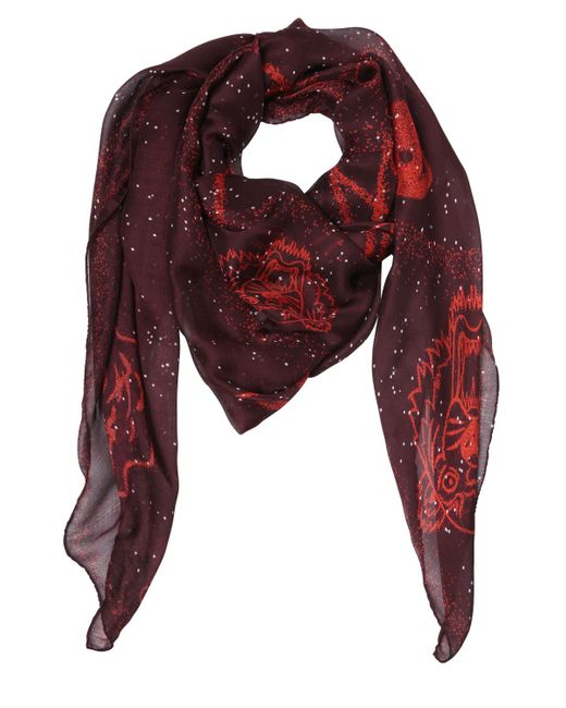 KENZO | Purple Symbol Printed Silk Scarf | Lyst