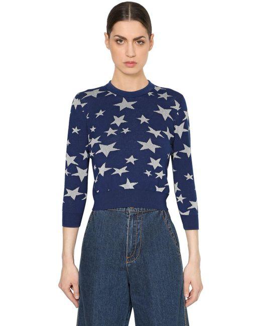 Loewe - Blue Wool Knit Sweater W/ Lurex Stars - Lyst