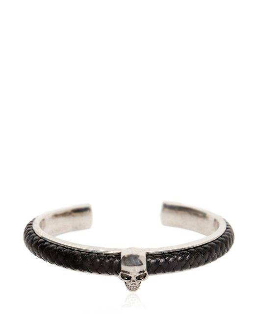 Alexander McQueen | Metallic Woven Leather & Skull Cuff Bracelet | Lyst