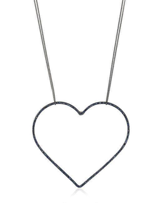 Seeme | Blue Sapphires Heart & Long Chain Necklace | Lyst
