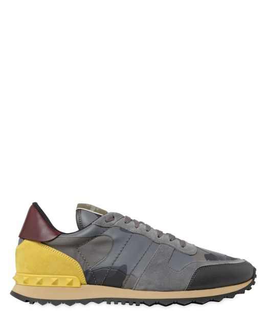 Valentino | Gray Rockrunner Canvas & Leather Sneakers for Men | Lyst