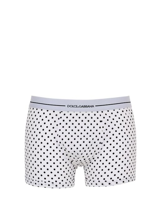 Dolce & Gabbana | White Polka Dot Cotton Jersey Boxer Briefs for Men | Lyst