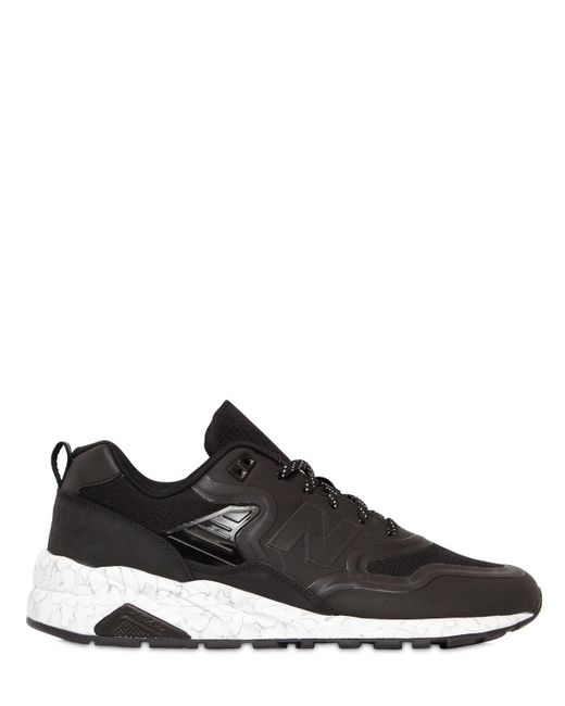 New Balance | Black 580 Reenginered Faux Leather Sneakers for Men | Lyst