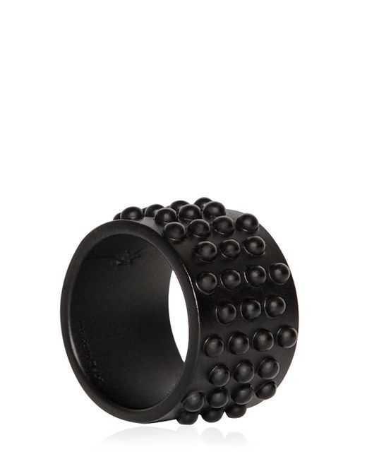 Alexander McQueen | Studded Metal Ring With Black Finish | Lyst