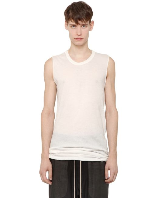 Rick Owens | White Cotton Jersey Sleeveless T-shirt for Men | Lyst