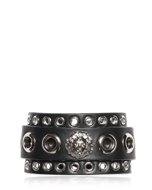 Versus | Metallic Lion Head & Eyelet Leather Cuff Bracelet for Men | Lyst