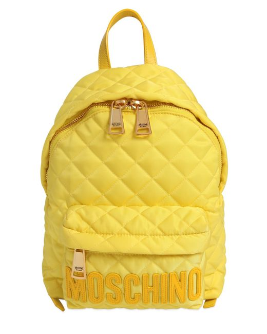 Moschino | Yellow Small Logo Quilted Nylon Backpack | Lyst