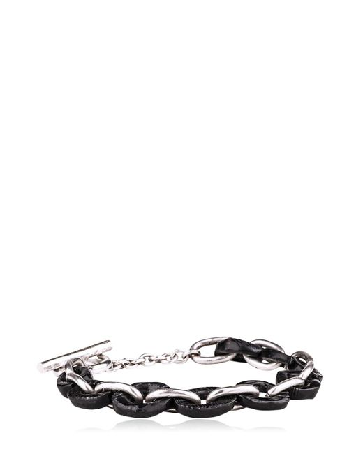 Henson | Black Carved Horn & Silver Links Bracelet for Men | Lyst