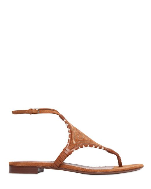 Sergio Rossi | Brown 10mm Maya Embroidered Suede Sandals | Lyst