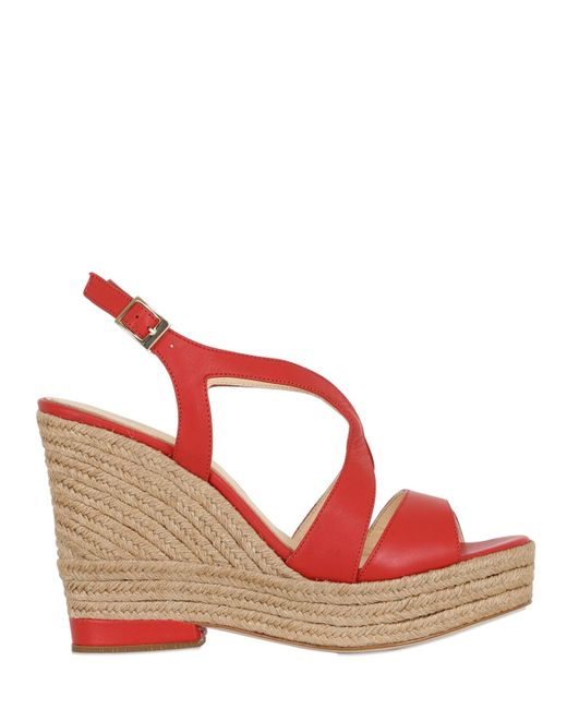 Paloma Barceló | Pink 110mm Clarisse Leather Wedge Sandals | Lyst