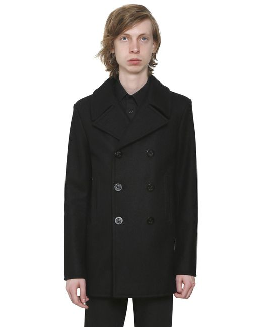 Saint Laurent | Black Double Breasted Wool Cloth Peacoat for Men | Lyst