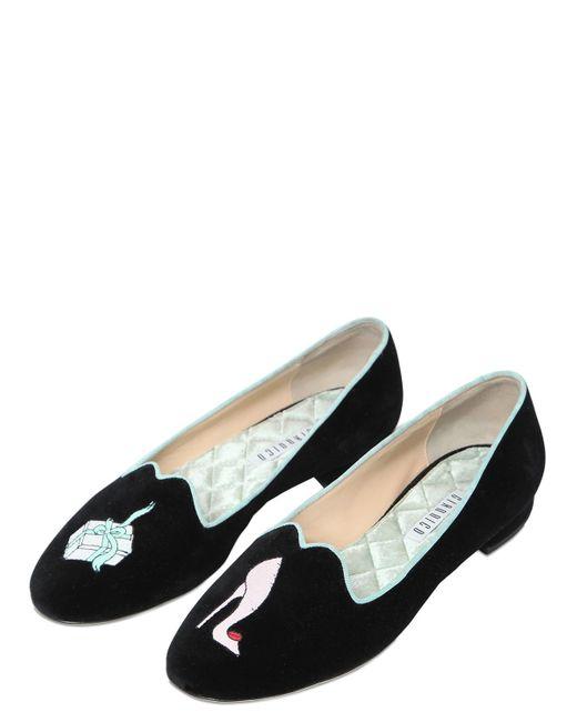 Giannico | Black 10mm Embroidered Velvet Flats | Lyst