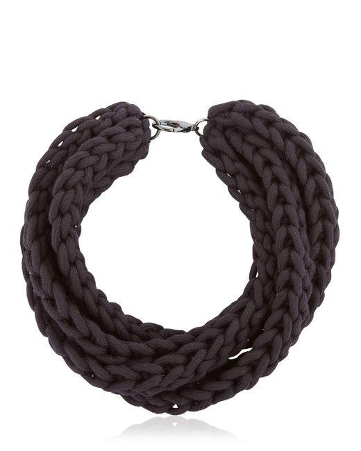 Alienina | Black Altrove Brass & Cotton Braided Necklace | Lyst