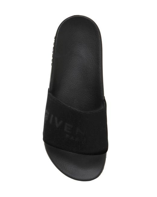 Givenchy   Black Logo Velvet & Rubber Slide Sandals for Men   Lyst